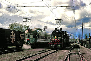 Interurban - The last day of electric operation on the Sacramento Northern Railway, February 1965. At left is the California Zephyr.