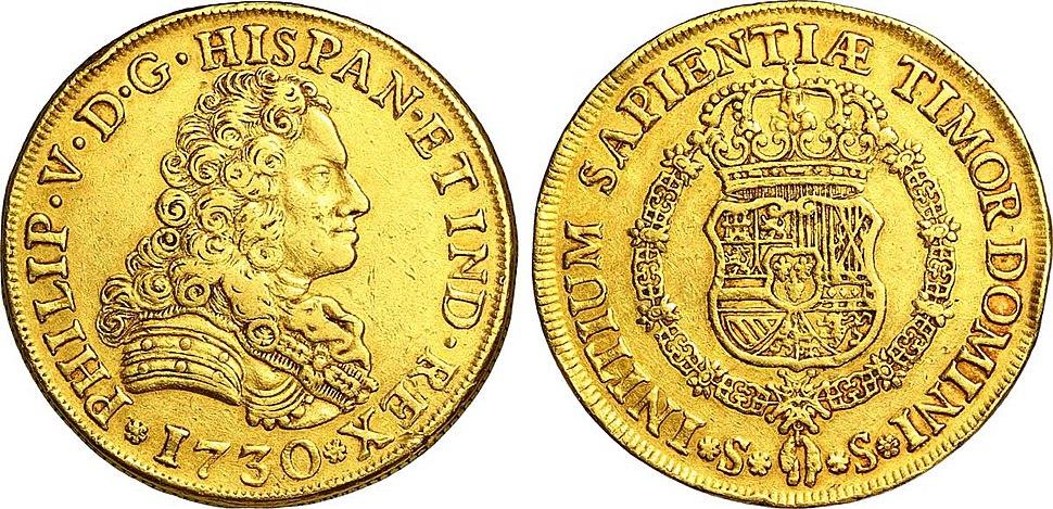 8 Escudos en or à l'effigie de Philippe V