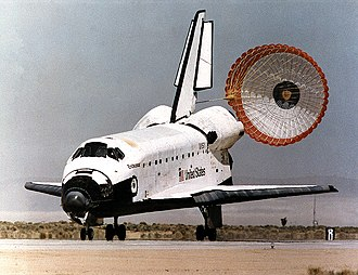 A parachute is used to slow down craft, in this case the Space Shuttle 950318 STS67 Endeavour landing.jpg