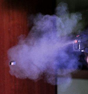 Gunshot residue - Gunshot residue from a pistol shot