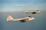 A-6E Intruders of Attack Squadron 34 in flight over the Mediterranean Sea on 1 June 1988 (6430215).jpeg