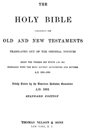 American Standard Version - Title page to the ASV