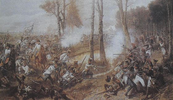 The fight of the 19th Hungarian regiment of Austrian army against the French infantry. A 19. magyar gyalogezred rohama a lipcsei csataban (1813).JPG