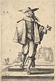A gentleman walking forward, his face in profile to the left, holding his glove in his right hand and wearing a hat, a fur jacket, and shoes with ribbons MET DP829193.jpg