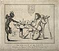 A gouty man drinking wine and playing the cello; the pain is Wellcome V0010849.jpg