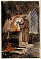A hooded alchemist at a furnace; above him hang dead animals Wellcome V0025610.jpg