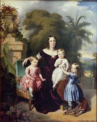Pedro Afonso, Prince Imperial of Brazil - Prince Pedro Afonso seated on his mother's lap while surrounded by his sisters, 1849
