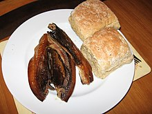 A plate of smoked kippers.JPG