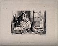 A woman breast feeding her baby, with a dog sitting next to Wellcome V0015045.jpg