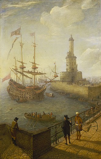 Abraham Willaerts - A Spanish three-Decker at anchor off Naples
