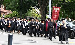 Academic procession during the University of Canterbury graduation ceremony.