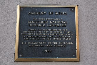 Academy of Music (Philadelphia) - National Historic Landmark Plaque