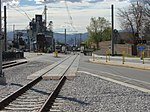 Across Pioneer Rd at Draper Town Center station, Apr 15.jpg