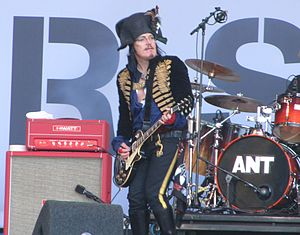 New Romantic - Pop star Adam Ant, seen here in 2012, wearing New Romantic-inspired clothing reminiscent of his early 80s period: hussar jacket, pirate shirt and leather gloves.