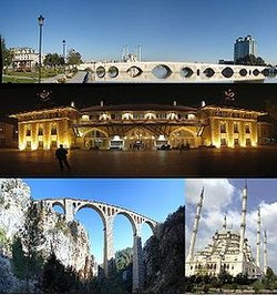 Top:Taskopru Bridge and Seyhan River, Middle:Night view of Adana Central Railroad Station in Ugur Mumcu area, Bottom left:Varda Viaduct, between Hacikiri and Kiralan, Bottom right:Sabanci Mosque in Resatbey area