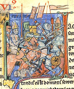A mitred Adhémar de Monteil carrying the Holy Lance in one of the battles of the First Crusade