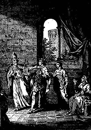 Ælfgifu, wife of Eadwig - Late 18th-century engraving by Samuel Wale. Impression of Dunstan's encounter with Eadwig and the two women in the royal chamber