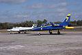 Aero Vodochody L-39C Albatros Blue7 Taxi In 11 past Aero Vodochody L-29 Delfin TICO 13March2010 (14412972997).jpg