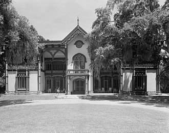 Plantation complexes in the Southern United States - The whimsical Gothic Revival-style Afton Villa in St. Francisville, Louisiana.  Built from 1848 to 1856, the masonry structure burned in 1963.