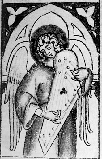 Psaltery - Picture of an unusual type of psaltery, found in Central Europe (Kingdom of Bohemia, 14th century)