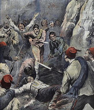 Albanian revolt of 1910 - Depiction of the revolt by The Illustrated Tribune August, 1910