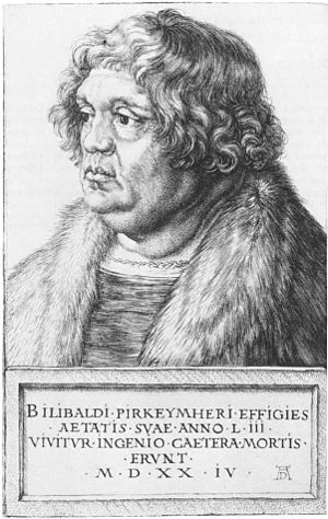 Willibald Pirckheimer - Engraving of Willibald Pirckheimer at 53 by Albrecht Dürer, 1524. We live by the spirit. The rest belongs to death.