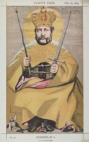 Иностранная карикатура на Александра II. Подпись: «La civilisation Russe»
