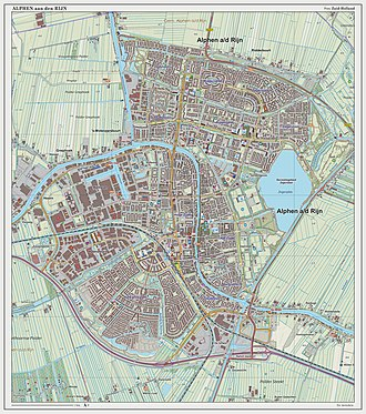 Alphen aan den Rijn - Topographic map of Alphen aan den Rijn (town), Sept. 2014