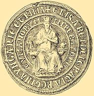 A seal depicting a crowned woman who sits on a throne