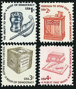 "Americana series - ""Roots of Democracy"" block (1c through 4c)"
