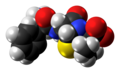 Ampicillin zwitterion spacefill from xtal.png