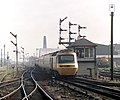 An HST entering Leicester station with a London-bound train, Nigel Tout, July 1985.jpg