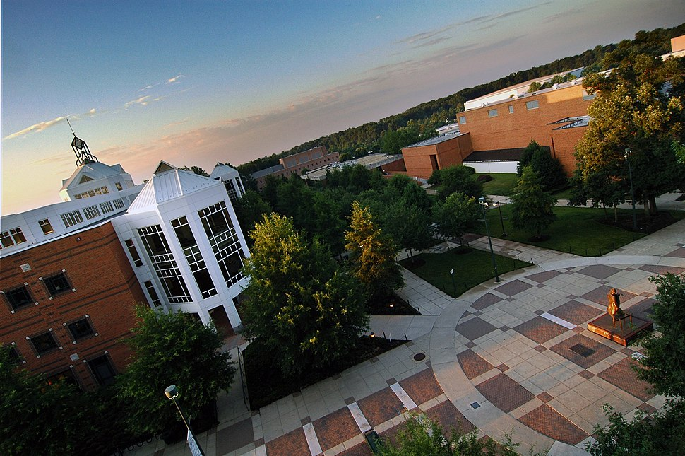 An aerial view of the Johnson Center at dawn.
