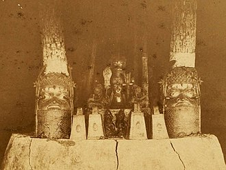 Benin Bronzes - Ancestral shrine Royal Palace, Benin City, 1891.  Earliest known photograph of Oba's compound.