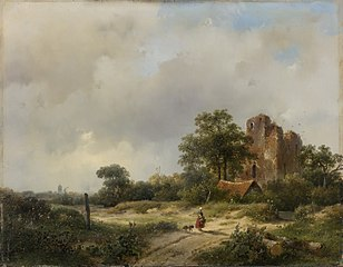 Landscape with the ruins of Castle Brederode in Santpoort