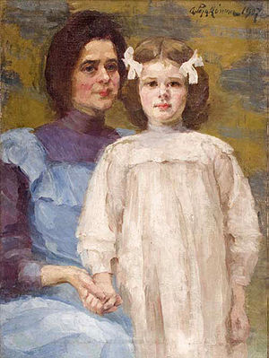 Aniela Pająkówna - Self-portrait with her Daughter (1907)