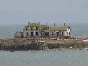 Año Nuevo Island - Abandoned buildings on Año Nuevo Island, photographed in 2005.