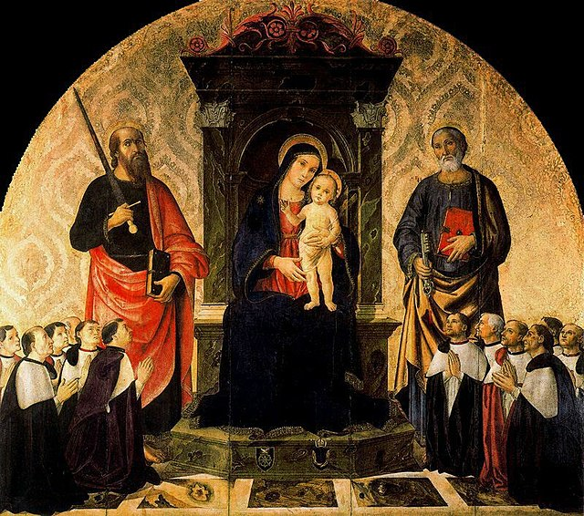 Antoniazzo Romano The Virgin and Child Between Saints Peter and Paul and the Twelve Magistrates of the Rota. The Vatican. 1485. Tempera on wood panel. 187 x 212 cm. Pontifical Apartments. The Vatican.jpg
