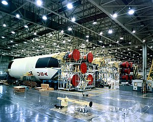 Michoud Assembly Facility - First stages of Saturn V rockets being assembled at the Michoud factory in the 1960s