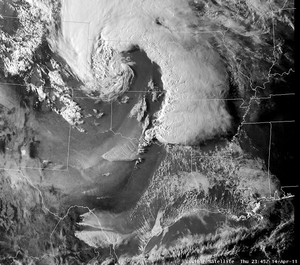 Tornado outbreak of April 14–16, 2011 - Visible satellite image of the storm at 2345 UTC on April 14