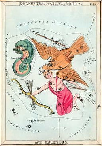 Aquila (constellation) - Aquila, with the now-obsolete figure of Antinous, as depicted by Sidney Hall in Urania's Mirror, a set of constellation cards published in London  around 1825. At left is Delphinus.