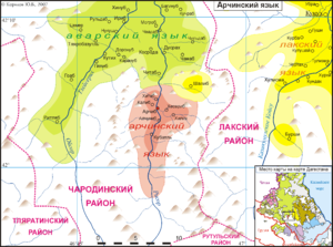 Archi people - Map of Archi language and Archi villages.