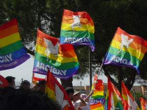 Flags of the Italian gay organisation Arcigay ...