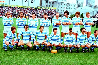 Rugby union in Argentina - Los Pumas, the national senior team, pictured before a match in 1979.