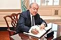Armenian President Armen Sarkissian signs Secretary Pompeo's guestbook (42375995184).jpg
