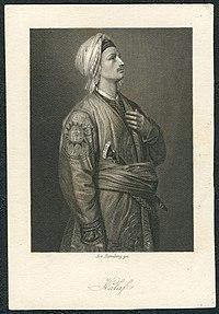 Arthur von Ramberg gez, Schiller-Galerie, Friedrich von Schiller, Sammelbild, Stahlstich um 1859, Turandot, Prinzessin von China, A. Fleischmann gestochen.jpg