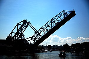 Ashtabula lift bridge - The Ashtabula lift bridge in raised position