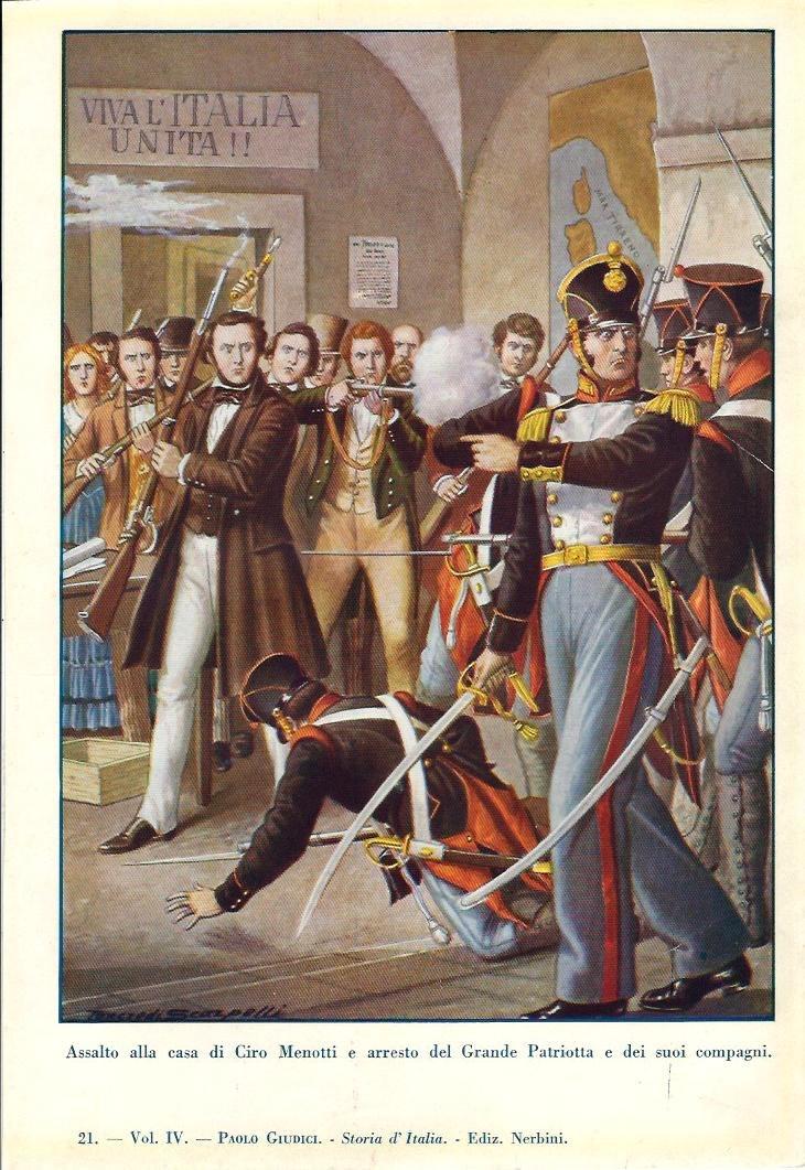Assalto alla casa di Ciro Menotti e arresto del Grande Patriotta e dei suoi compagni