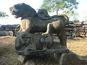 A ferocious lion excavated in Madan Kamdev close to Baihata Cariali in Assam representing the powerful Kamarupa-Palas (c. 9th-10th century A.D.)