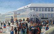 The assassination attempt on Emperor Alexander II (gouache, Russia, 19th century)